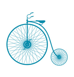 silhouette vintage bicycle in blue design vector image