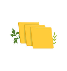 sliced pieces of cheddar cheese with green ginger vector image