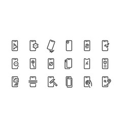 smartphone repair icons dropped phone with vector image