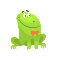 Smiling Green Frog Funny Character With Bow Tie vector
