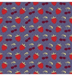 Strawberry and cherry pattern vector image