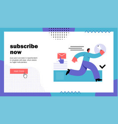 Subscribe now website landing page vector