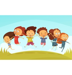 Team Of Cheerful Friends Holding Hands And Jumping vector
