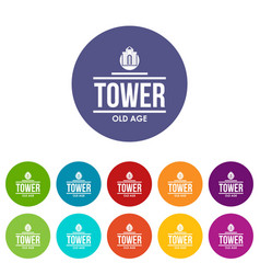 Tower old age icons set color vector