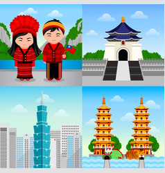 Travel to taiwan taiwanese people in national vector