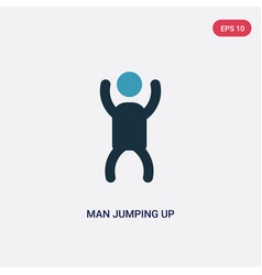 Two color man jumping up icon from people concept vector