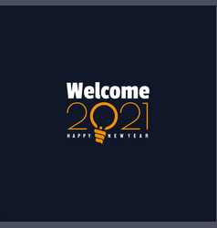 Typography happy new year 2021 with bulb design vector