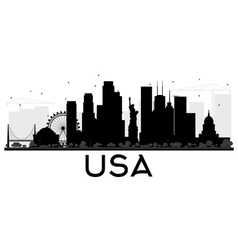USA City skyline black and white silhouette vector