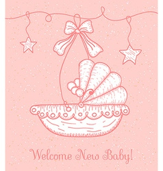 Welcome New Baby Greeting Card with Cradle vector image