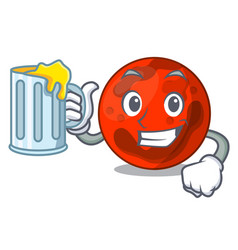 With juice mars planet mascot cartoon vector