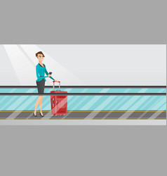 Woman using smartphone on escalator at the airport vector