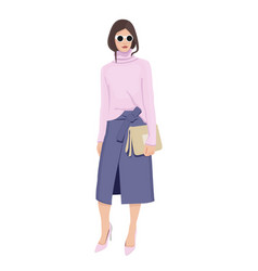 Women dressed in stylish trendy clothes - female vector