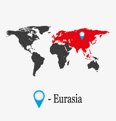 World map with continent eurasia vector