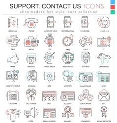 contact us support modern color flat line vector image vector image