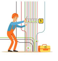 electrician engineer in uniform repairing vector image vector image