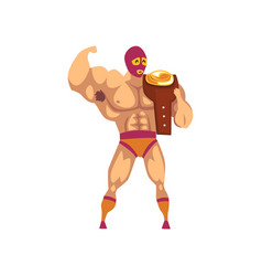 muscular wrestler standing and holding winner s vector image