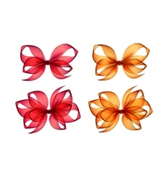 Set of colored orange red gift bows on background vector