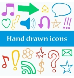Set of hand drawn icons vector image