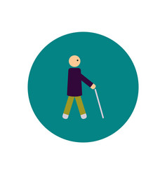 Stylish icon in color circle man with stick vector