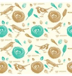 Vintage Sparrow Nest Pattern vector image