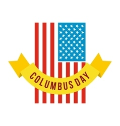 American flag with Columbus Day ribbon icon vector image vector image