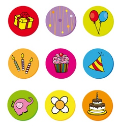 birthday icons vector image vector image