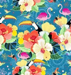 bright seamless tropical pattern with flowers vector image