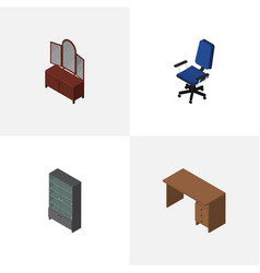 Isometric furniture set of table drawer office vector