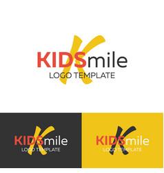 kids smile logo letter k logo logo vector image