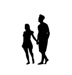 silhouette couple man and woman walk holding hands vector image