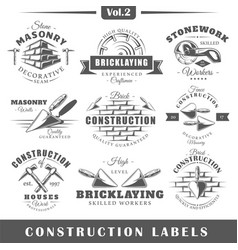Vintage construction labels vector