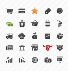 Business and shopping symbol icon set vector image vector image