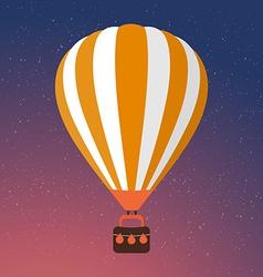 Cartoon Retro Air Balloon On Night Sky Background vector image vector image