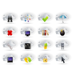 cloud network icons set vector image vector image