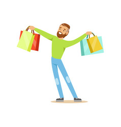 elegant young handsome man standing with shopping vector image