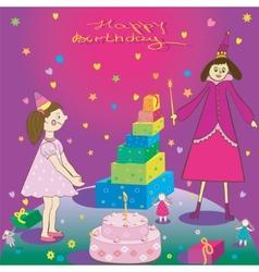 Happy Birthday Gift girl cake and fairy vector image