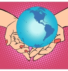 Planet Earth in hands America vector image vector image