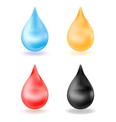 Set of realistic drops yellow blue red black vector