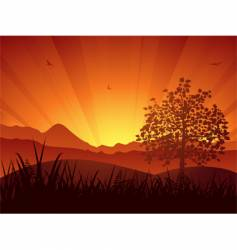 summer landscape sunset and tree vector image