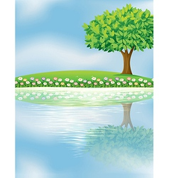 A big tree near the river vector image vector image