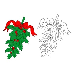 Christmas holly branch vector image vector image