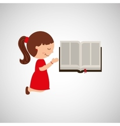 Cute girl blessed bible graphic vector