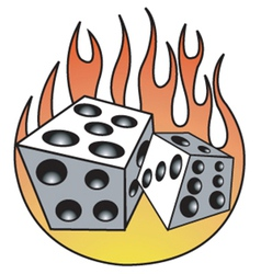 Dice with flames vector image vector image