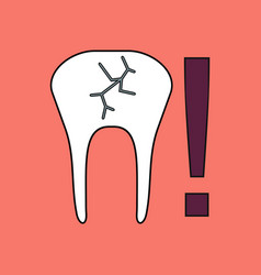 Flat icon design collection tooth fracture vector