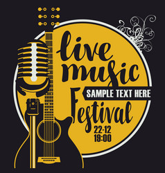 music poster with microphone and acoustic guitar vector image vector image