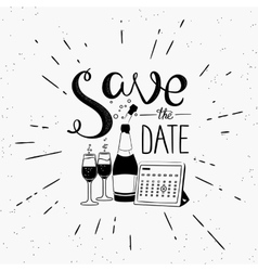 Save the date design element with calendar and vector image