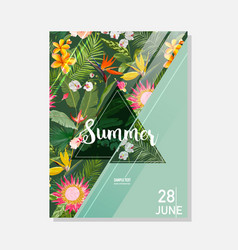tropical exotic flowers summer graphic background vector image vector image