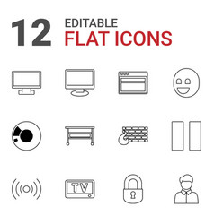 12 computer icons vector image