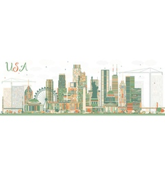 Abstract USA Skyline with Color Skyscrapers vector image