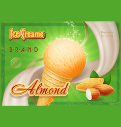 Almond ice cream in the cone advertising vector